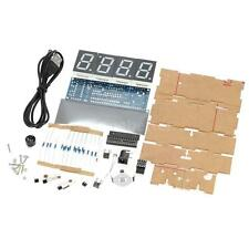 4-digit LED Digital Desktop Clock Electronic DIY Kit Light Control w/ Case S4X3