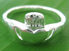 100% REAL 925 sterling silver plain IRISH Ring big size 4.5  to 11.75 - BOY GIRL