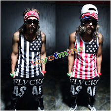 MEN'S FASHION HIPOP USA NATIONAL FLAG TANK TOP AMERICAN SLEEVELESS TEE T-SHIRT
