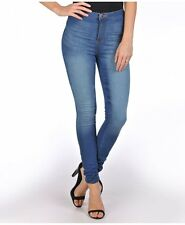 NEW WOMEN LEGGINGS HIGH WAISTED BLUE SKINNY JEGGINGS JEANS  TROUSERS SIZE (6-14)