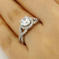 2.00 Ct 14K White Gold Round Cross Over Pave Solitaire Engagement Promise Ring