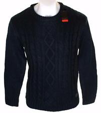 Bnwt Authentic Men's Pierre Cardin Cable Knit Chunky Jumper Crew Neck Black New