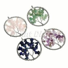 1pc Women Girls Gemstone Chips Wire Wrap Life-Tree Bead Pendant for Necklace