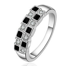 New Women 925 Sterling Silver White Gold Filled Wedding Engagement Band Ring