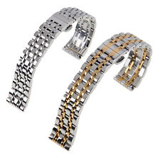 Unisex Stainless Steel Watch Band Strap Link Bracelet Butterfly Lock Gold Silver