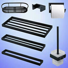 Bathroom Accessories Black Towel Rack Toilet Paper Holder Brush Robe Hook Basket