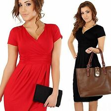 Women Summer V-neck Short Sleeve Wear To Work Office Party Slim Casual Dress