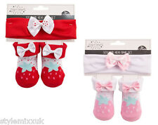 Newborn Girls Baby Shower Pink Red Strawberry Bow Booties Sock Headband Gift Set