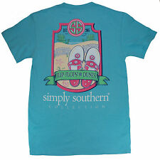 Simply Southern Preppy Pool T-Shirt Dunes and Flips Flops - Large