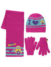 Girls Despicable Me Minions Hat Scarf & Gloves/Mittens Set Age's 1-12 Years NEW