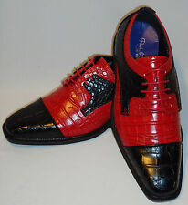 Roberto Chillini 6613 Mens Black Red Elegant Two Tone Spectator Dress Shoes