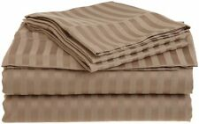 Sale US Thread Count 100%Egyptian Cotton 4PC Bed Sheet Set Taupe Stripe All Size