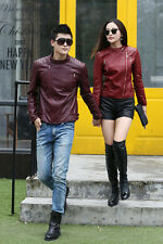 New Autumn Women and men jacket Lovers leather jacket Neck zip jacket