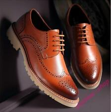 Mens Vintage Brogue Wings Tip Pointy Toe Carved Lace Up Casual Dress Shoes New