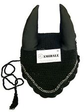 FLY VEIL EAR NET HORSE EQUESTRIAN BLACK WITH CRYSTAL FULL/COB/PONY FROM AMIDALE