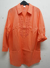 NEW Plus size chic ladies Long Blouse in coral with Roll-up sleeves Sz. 54,56,58
