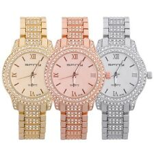 Women Men Round Dial Roman Numerals Quartz Metal Band Wrist Watch 6008 BE