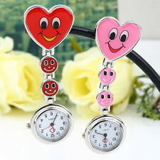 Heart Shape Cute Smile Face Nurse Quartz Clip-on Fob Pocket Watch Brooch New Ba
