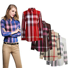 Women Button Placket Plaid Check Western Shirt Tops Long Sleeve Blouse S-XL New