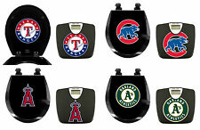FC682 2 PIECE SET MLB THEMED BLACK FINISH BATHROOM SCALE ROUND WOOD TOILET SEAT