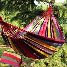 Portable 2 Person Hanging Hammock Rope Swing Fabric Sleeping Bed Garden Camping