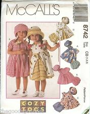 McCalls 8742 Cozy Togs Toddler Dress Hat panties sewing pattern UNCUT NEW