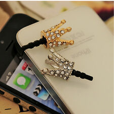Cute Crown 3.5mm Anti Dust Earphone Jack Plug Stopper Cap for iPhone 4 5 6 HTC
