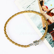 New Leather Bracelets Chain Bangle Fit European Charms Beads 7Colors/3sizes