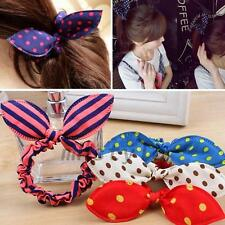 Cute 5pcs Rabbit Bunny Ears Dotted Hair Ties Scrunchie Ponytail Holder Hair Band