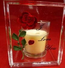 I LOVE YOU RED ROSE - KEEPSAKE CANDLE HOLDER AND ACRYLIC STAND WITH CANDLE
