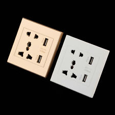 Dual USB Port Electric Wall Charger Dock Socket Power Outlet Panel Plate BE