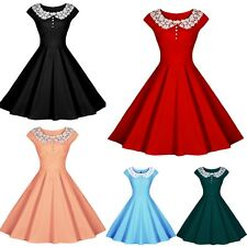 Vintage 50s 60s Women's Rockabilly Lace Collar Swing Hepburn Pin Up Prom Dress