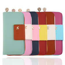 Women PU Leather Buckle Long Purse Clutch Button Wallet Bag Card Holder BE