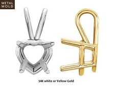 14K Solid Gold Heart Shape Basket Pendant Setting Mounting