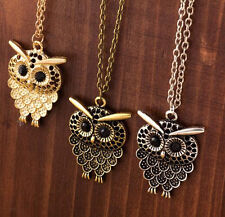 Fashion Womens Bronze Charm Owl Pendant Necklace Long Chain Jewelry Gift