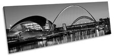 Newcastle Tyne Bridges River City B&W CANVAS WALL ART Panoramic Framed Print