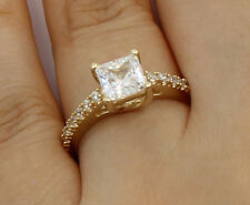 1.50 Ct 14K Yellow Gold Princess Pave Side Stones Engagement Bridal Promise Ring