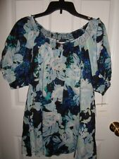 CROFT & BARROW BLUE WHITE GREEN COTTON FLORAL PEASANT BOHO TOP BLOUSE 1X 2X 3X