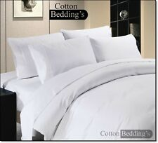 LUXURY 1000 TC WHITE SOLID SATIN SILKY COMPLETE UK SIZE SHEET SET & DUVET SET