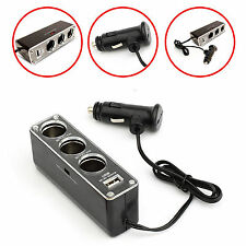 CAR CHARGER SPLITER W/3 CIGARETTE SOCKET & 1 USB PORT FOR VARIOUS MOBILE PHONES