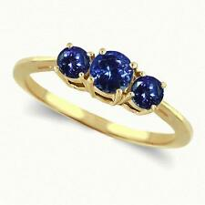 Three Stone Tanzanite Ring in 14k Yellow or White Gold