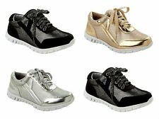 WOMENS GLITTER MESH LACE UP CASUAL RUNNING SPORTS PUMPS TRAINERS LADIES SIZE 3-8