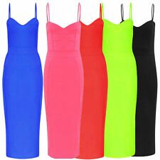 Ladies Womens NEON Strappy Cami Bodycon Midi DRESS Evening cocktail party Lot V4