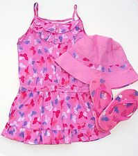 Faded Glory girls 3-piece sundress, bucket hat, & flip flops outfit size 4 NWT