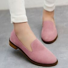 Women Slip On Loafers Round Toe Flats Moccasins Low Top Nubuck Shoes Candy Color