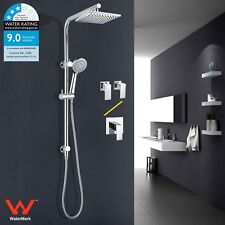 "WELS Bathroom Brass 8"" Rain Shower Head 2 In 1 Handheld Sliding Rail + Mixer/Tap"