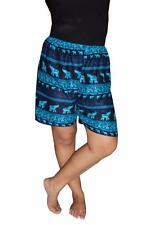 Boxer Shorts Thai Harem Shorts Neon Blue Elephant Rayon Unisex Shorts US SHIP