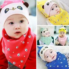 Cute Boy Girl Toddler Bandana Triangle Saliva Towel Baby Bibs+Hat Head Scarf Kit