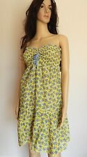 Juicy Couture LOVE BIRDS smoked swimsuit cover up short dress XL $248 Yellow