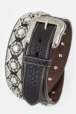 Men's Basket Weave Leather Belt Heavy Duty Western Engraved Concho Gun Casual Bn